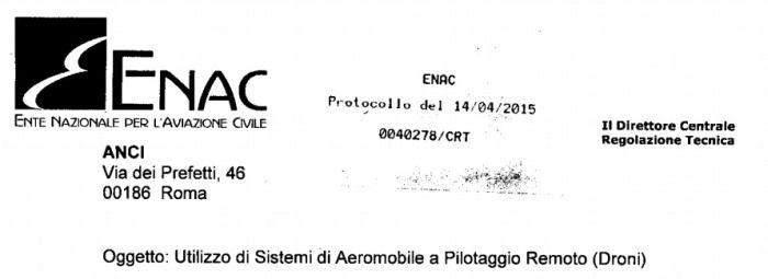 lettera ENAC ai comuni per il volo dei droni