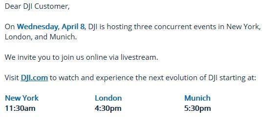 evento in diretta DJI