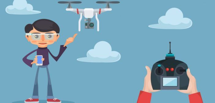 52396581 - drone and man. vector flat illustration