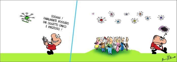 vignetta umoristica bruno bozzetto sui droni