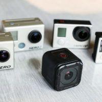Confronto tra le dimensioni delle telecamere GoPro. La Session è quella nera (74 grammi)