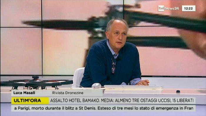 Luca Masali ospite a RAINews24 parlando di droni e attentati terroristici
