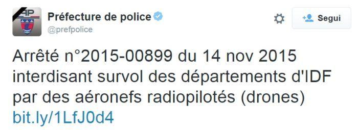 tweet della prefettura francese sul divieto di volo dei droni