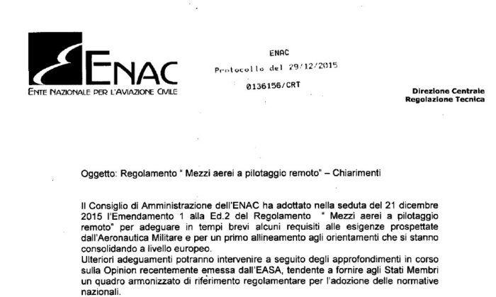 ENAC spiegazioni a emendamento regolamento droni SAPR