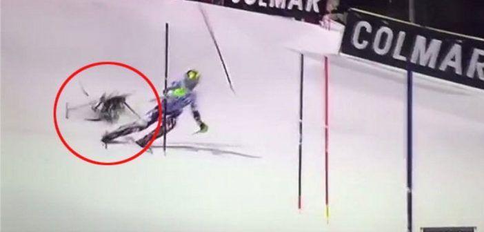 drone cade su pista sci gara mondiale