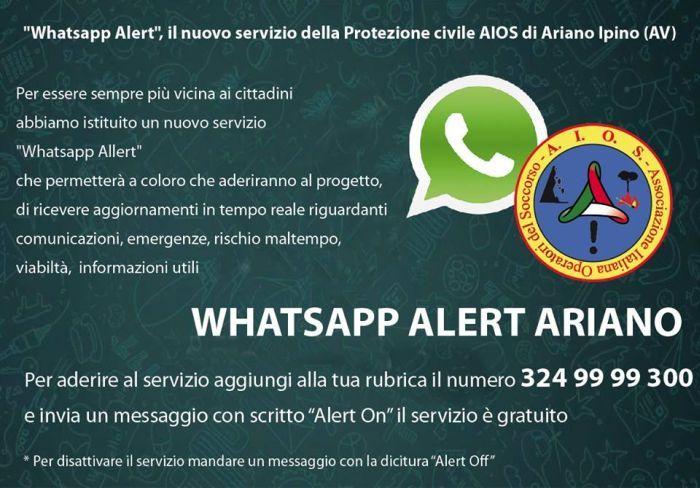 servizio di alert via whatsapp di protezione civile ariano irpino