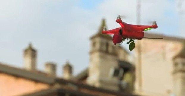 drone consegna rose rosse per san valentino