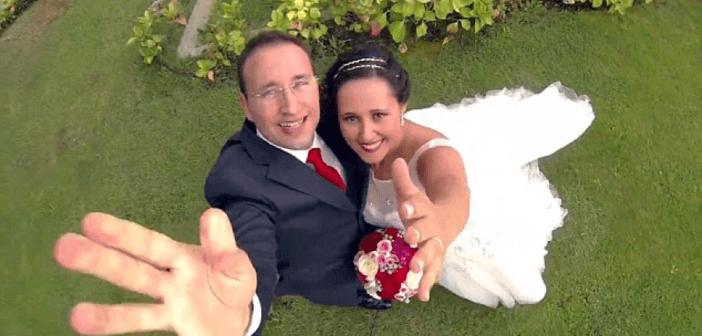 drone fotografo colpisce volto dello sposo