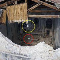 Il momento in cui i droni del progetto TRADR entrano nella voragine del tetto della Chiesa di Sant'Agostino ad Amatrice