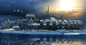 30745637 - science fiction island city with metallic ring structures on water