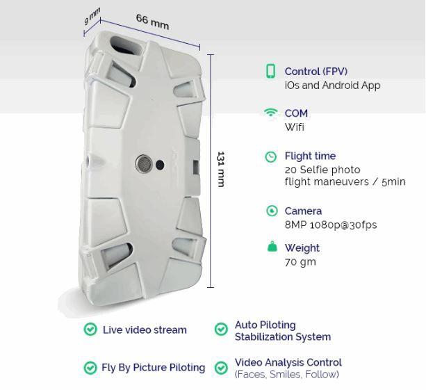 selfly dimensioni drone selfie