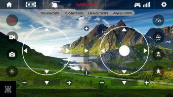 Schermata della app di controllo