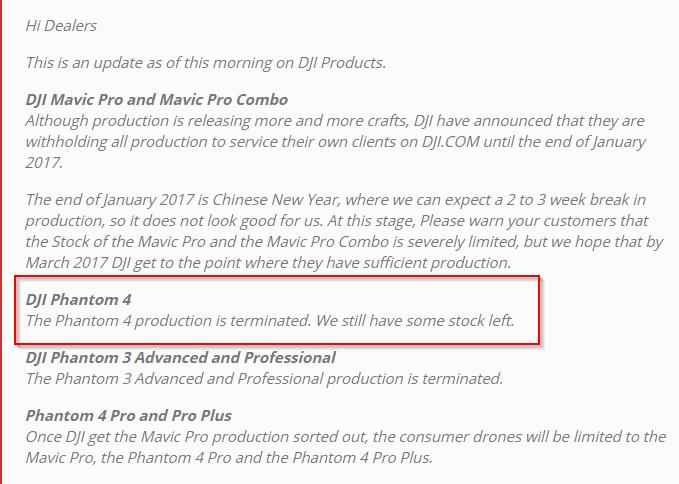 email produzione phantom 4 terminata