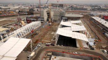 Immagini riprese dal drone durante la costruzione dell'Expo di Milano