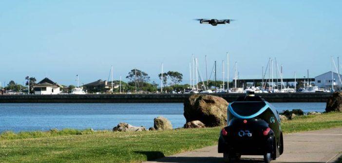 O-R3, l'auto robotica per la sorveglianza usa anche un drone