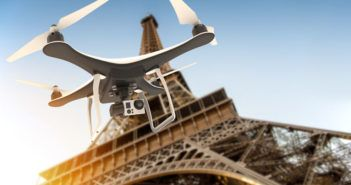 80235688 - drone with digital camera flying over tour eiffel: 3d rendering