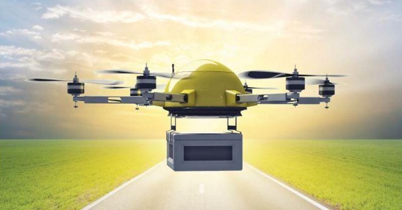 consegne via drone sotto la pioggia