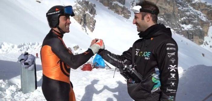 Un drone da FPV racing sfida Kristian Ghedina sulle Tofane