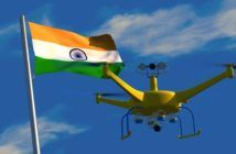drone con bandiera dell'india