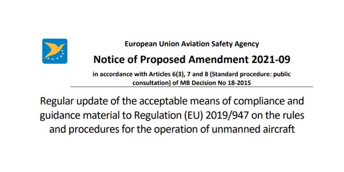 EASA: nuova bozza in attesa di commenti per la modifica del regolamento EU 2019/947