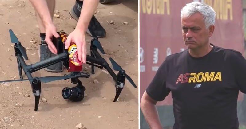 Anche un drone giallorosso agli allenamenti della Roma di Mourinho